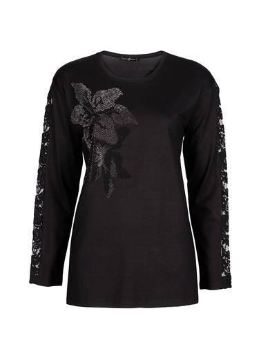 Butik Triko 3764 Taşlı Bluz Siyah